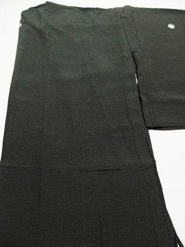 正絹 絽の色無地 ★★★★ 【C/R/W】 (66/154/46) 黒無地 5つ紋付