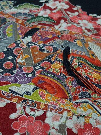 【素材・衣装】化繊 袷の黒留袖 ★★★ 【C/M】 (65.5/163/49) 巻物 平安装束 四季花 -