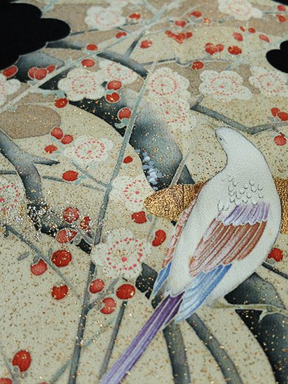 【素材・衣装】正絹 袷の黒留袖 ★★ 【C/R/W】 (65.5/153/46.5) 枝梅 鳥 【作家物】-