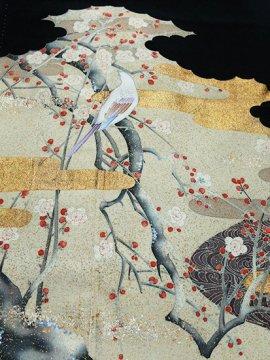 【素材・衣装】正絹 袷の黒留袖 ★★ 【C/R/W】 (65.5/153/46.5) 枝梅 鳥 【作家物】