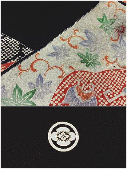 【素材・衣装】交織 袷の黒留袖 ★★ 【B/R】 (64/156/48) 植物紋 古典柄-