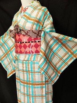 綿 新品の浴衣 ★★★★★ 【D/M/W】(67.5/162/48.5)チェック