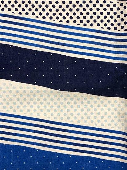 綿 新品の浴衣 ★★★★★ 【C/M】(66/164/49)ドット ボーダー  単衣にも♪-