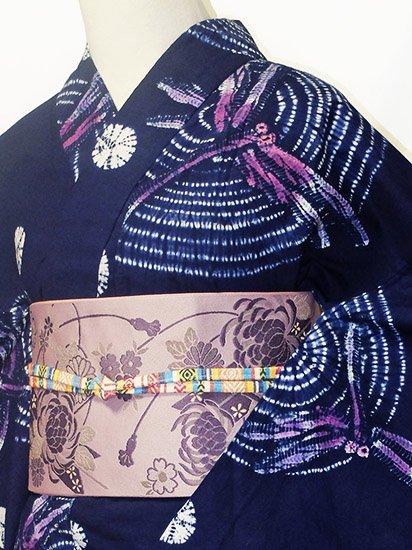 綿 新品浴衣 ★★★★★ 【D/M/W】(67/163.5/50) 蜻蛉 波紋 絞り -