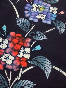 綿 中古の浴衣 ★★★ 【C/S】(65/146/43)紫陽花 注染