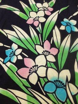 綿 中古の浴衣 ★★ 【B/R】(63.5/151.5/45.5)花葉 注染