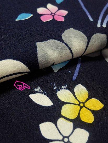綿 中古の浴衣 ★★★ 【D/R】(67/156.5/47.5)植物紋 注染-
