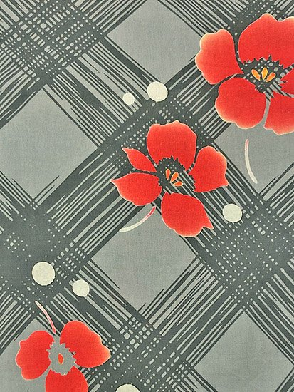 綿 中古の浴衣 ★★★★ 【D/M/W】(67.5/163.5/48)植物紋 斜め格子 注染 【特選】-