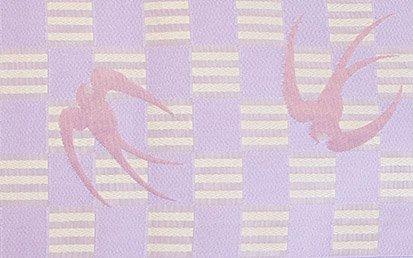 化繊 新品半幅帯 ★★★★★ 【長尺】 (17/395) 市松 燕-