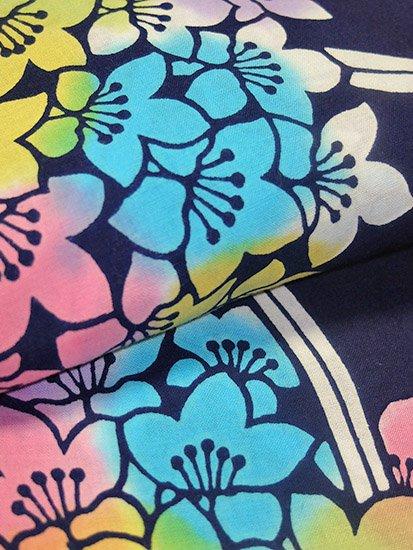 綿 中古の浴衣 ★★★★ 【D/M/W】(68/164/48.5)花葉 注染 【特選】-