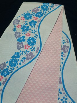 化繊 新品半幅帯 ★★★★★ 【長尺】 (16.5/395) 桜