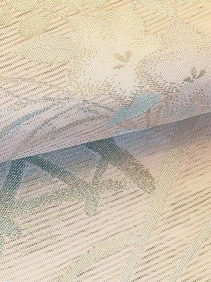 正絹 六通柄九寸名古屋帯 ★★★★★ 【標準】 (30.5/352) 秋草 竹垣 【夏帯】【未使用品】-