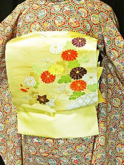 正絹 ポイント柄九寸名古屋帯 ★★★★ 【標準】 (30.5/354) 菊 中古-1