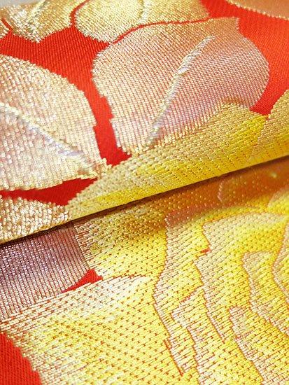 綿 六通柄八寸名古屋帯 ★★★ 【標準】 (30.5/350) 薔薇 中古-
