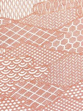 正絹 袷の小紋 ★★★★ 【C/M】 (66/160/49) 割付紋 寄せ柄 鹿の子 中古