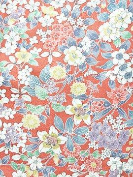 化繊 袷の小紋 ★★★★ 【B/R】 (64.5/155/48.5) 植物紋 中古