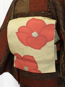綿 六通柄八寸名古屋帯 ★★★★ 【標準】 (30/345) 植物紋 中古