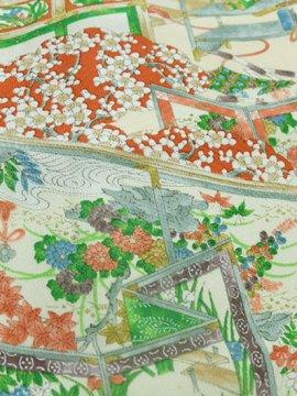 正絹 袷の小紋 ★★★ 【C/M】 (66.5/160.5/57) 植物紋 衝立 几帳 【中古】