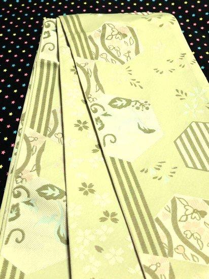 *特別割引* 化繊 新品半幅帯 ☆☆☆☆☆ 【長尺】 (18/417) 亀甲 縞 植物紋  -1