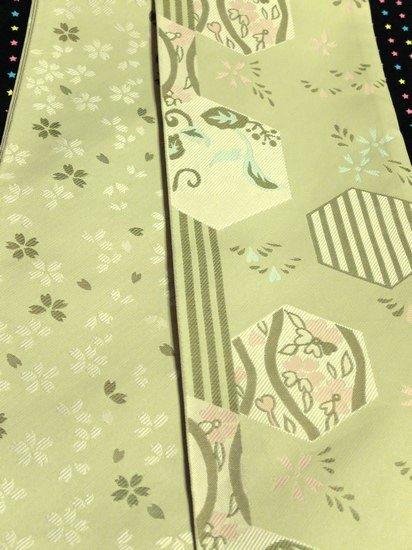 *特別割引* 化繊 新品半幅帯 ☆☆☆☆☆ 【長尺】 (18/417) 亀甲 縞 植物紋  -
