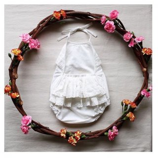 aubrie ruffle white playsuit