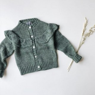 tocoto vintage knitted cardigan with openwork darkgreen