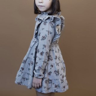 tocoto vintage flowerprint dress with ruffle on neck grey