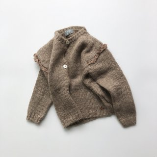 tocoto vintage knitted cardigan with lace brown