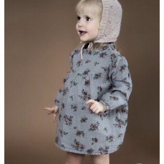 tocoto vintage flowerprint baby dress  grey