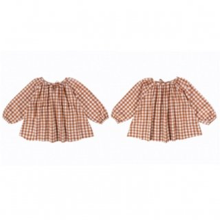 Last1! little cotton clothes  olivesmock rust gingham