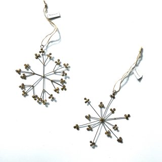 bloomingville gold snow metal ornaments 2set