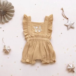 india&grace golden mustard embroidered playsuit