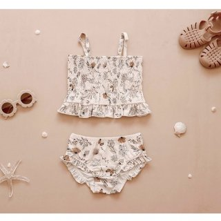 india&grace shirred two piece swimsuit summer floral