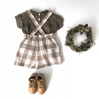 little cotton clothes cromer short dungarees gingham cinder