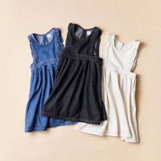 himher x yanuk  apron dress ecru/wash blue/ wash black
