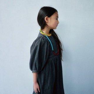 himher x yanuk  pajama dress ecru/wash blue/ wash black