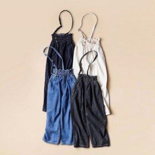 himher x yanuk  one shoulder pants one wash blue/ ecru/wash blue/ wash black