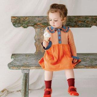 happyology  amberley knitted dress orange blue