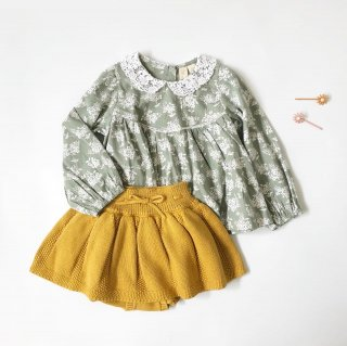 littlecottonclothes  marcle blouse green floral with cotton lace collar