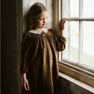 little cotton clothes delia dress in nut velvet with cotton lace collar