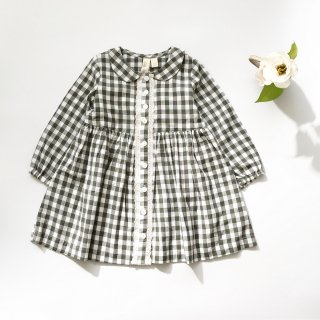little cotton clothes agatha dress green gingham
