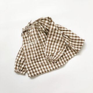 Last1! little cotton clothes embroidered olivesmock gingham in nut