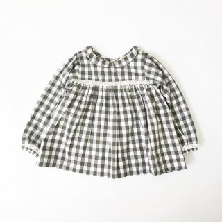 Last1! littlecottonclothes  emma blouse green gingham