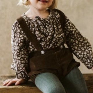 little cotton clothes olive blouse floral corduroy in nut 10月末入荷予定9月12日21時よりご予約受付開始
