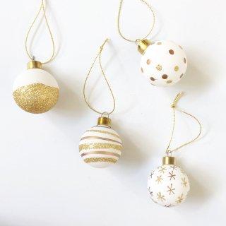 rader christmas baubles set  of  4 gold