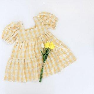 mipounet vichy pleated dress yellow