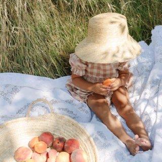 nellie quats marbles romper linen rosecheck