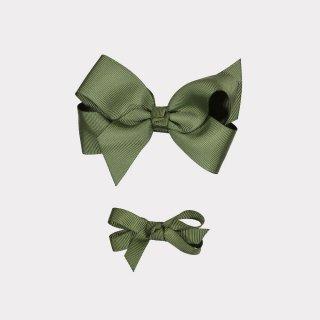 happyology  ribbon hair bow clipset autumn green