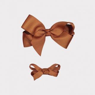 happyology  ribbon hair bow clipset amber