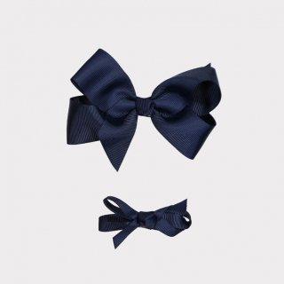 happyology  ribbon hair bow clipset navy